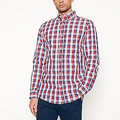 Maine New England - Big and tall red double checked long sleeve shirt