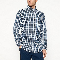 Maine New England - Navy checked long sleeve shirt