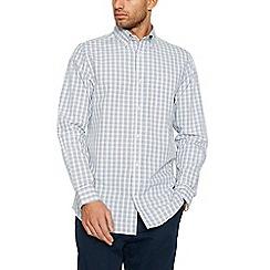 Maine New England - Big and tall yellow mini grid check long sleeve shirt