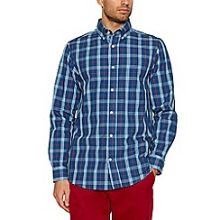 Maine New England - Big and tall navy checked long sleeve shirt