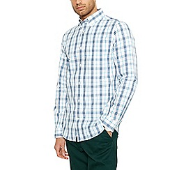Maine New England - Big and tall white checked long sleeve shirt