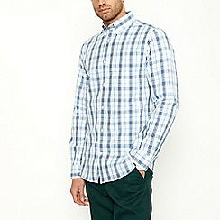 Maine New England - White Checked Long Sleeve Shirt