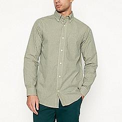Maine New England - Big and tall yellow micro check long sleeve regular fit shirt