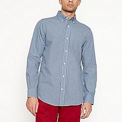 Maine New England - Blue micro check long sleeve regular fit shirt