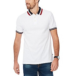 Maine New England - White block stripe collar cotton polo shirt