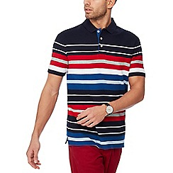 Maine New England - Navy stripe cotton polo shirt