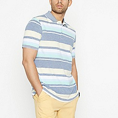 Maine New England - Aqua Striped Cotton Polo Shirt