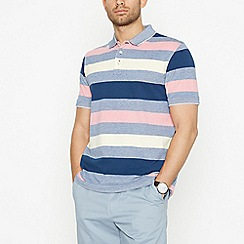 Maine New England - Dark Peach Striped Cotton Polo Shirt