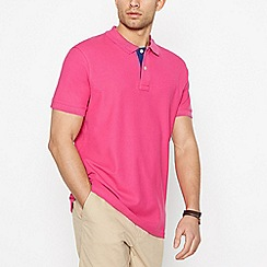 Maine New England - Big and tall dark pink contrast placket polo shirt