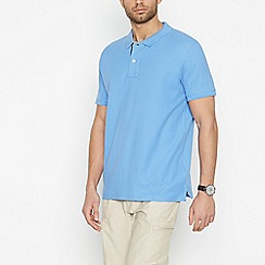 Maine New England - Big and tall blue cotton contrast placket polo shirt