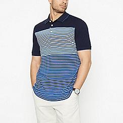 Maine New England - Navy Striped Cotton Polo Shirt