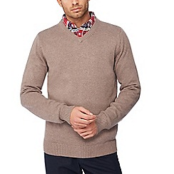 Maine New England - Big and tall fawn v-neck jumper