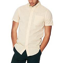 Maine New England - Yellow textured short sleeves shirt