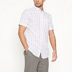 Maine New England - Big and tall light pink checked short sleeve regular fit shirt