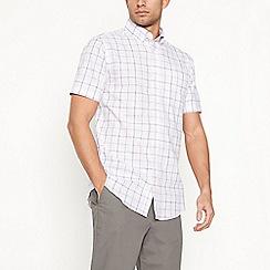 Maine New England - Light pink checked short sleeve regular fit shirt