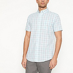 Maine New England - Light green checked short sleeve regular fit shirt
