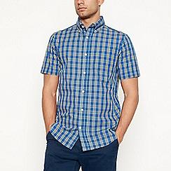 Maine New England - Yellow checked short sleeve regular fit shirt