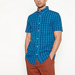 Maine New England - Big and tall blue checked short sleeve regular fit shirt