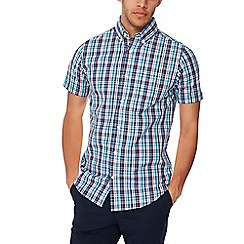 Maine New England - Navy checked short sleeves shirt