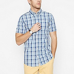 Maine New England - Blue Checked Cotton Short Sleeve Regular Fit Shirt