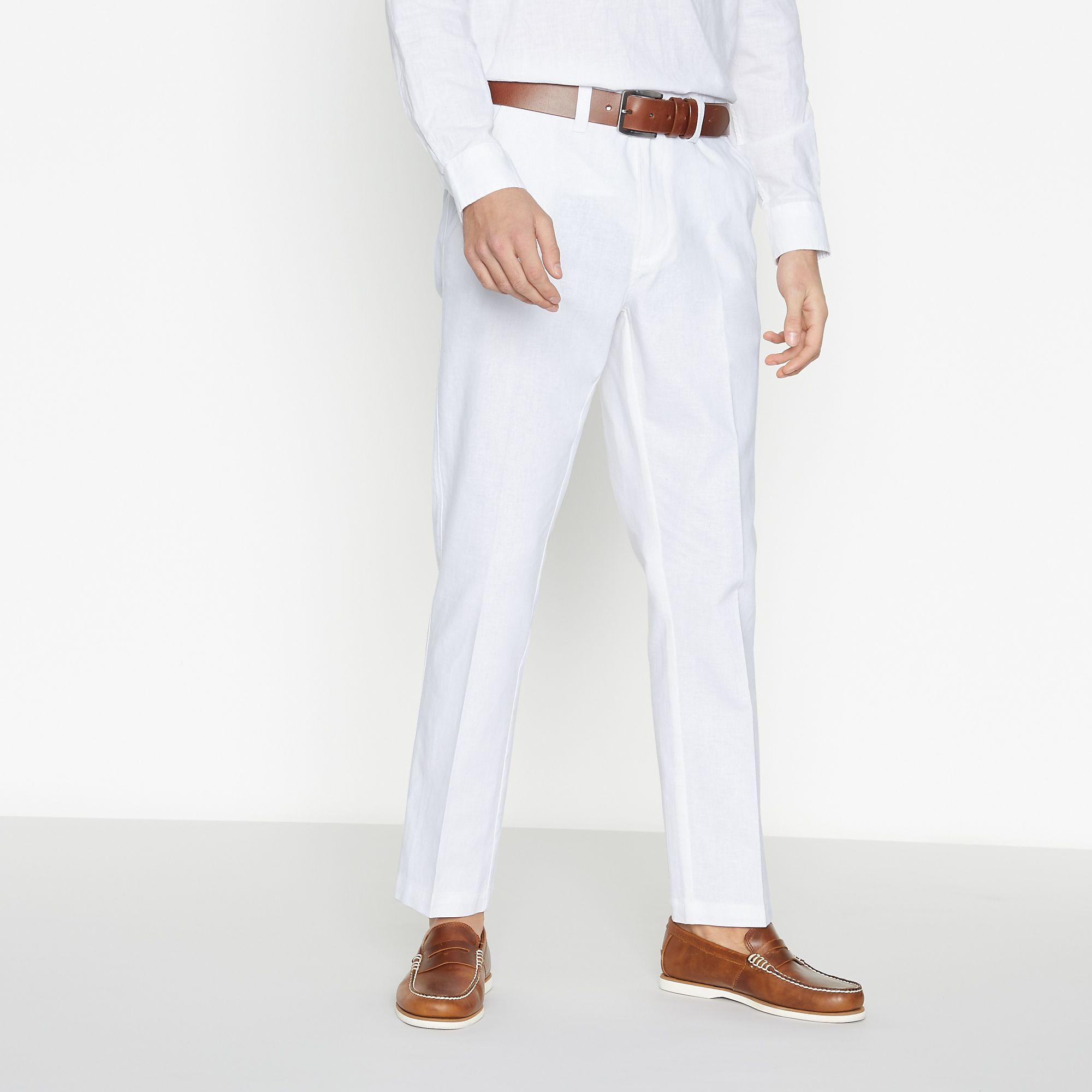c17b9e5606 Details about Maine New England Men White Linen Blend Trousers