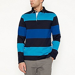 Maine New England - Big and tall turquoise block stripe rugby top