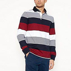 Maine New England - Big and tall red block stripe rugby top