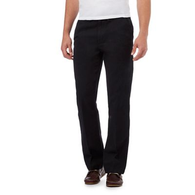 Maine New England Black Tailored Cotton Chinos  dbc0aab73