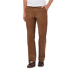 Maine New England - Dark tan regular fit chinos