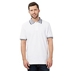 Maine New England - Big and tall white jacquard collar polo shirt