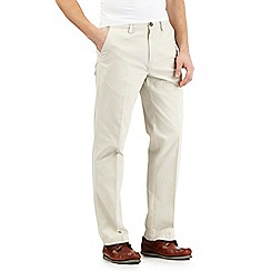 Maine New England - Big and Tall Off-White Tailored Cotton Chinos