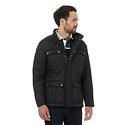 Maine New England - Big and tall black quilted herringbone lined jacket