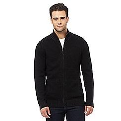 Maine New England - Black ribbed zip through sweater