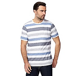 Maine New England - Big and tall blue block striped t-shirt