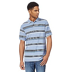 Maine New England - Blue striped print textured polo shirt