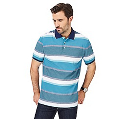 Maine New England - Blue textured striped polo shirt