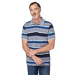 Maine New England - Navy and blue striped pique polo shirt