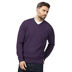 Maine New England - Big and tall purple v neck jumper