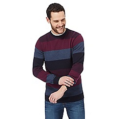 Maine New England - Big and tall navy striped crew neck jumper