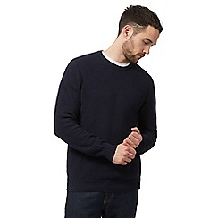 Maine New England - Big and tall navy textured crew neck jumper