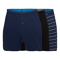 The Collection - Big and tall pack of three blue striped boxers