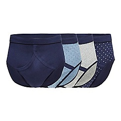 The Collection - Pack of four navy printed briefs