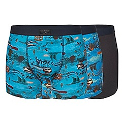 Mantaray - Pack of three blue lighthouse print hipster trunks