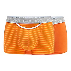 HOM - 2 pack orange plain and striped boxers
