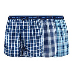 Mantaray - Pack of three blue checked woven boxers
