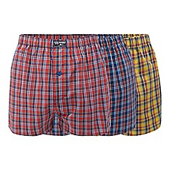Mantaray - Pack of three checked print boxers