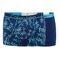 Calvin Klein - 2 pack blue bamboo print trunks