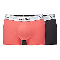 Calvin Klein - Pack of two black and red trunks