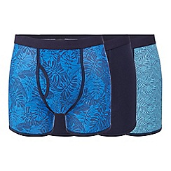 Mantaray - Big and tall pack of three blue and navy plain and leaf print keyhole trunks