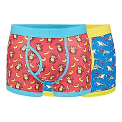 Red Herring - Pack of two monkey and shark print keyhole trunks